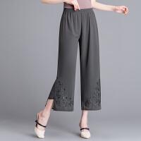 新款中老年女装夏装妈妈装时尚宽松九分裤中年女士雪纺阔腿裤