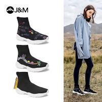 【秋品上新】JM快乐玛丽2019秋季新款涂鸦高帮休闲运动潮鞋套筒袜子鞋女鞋172W