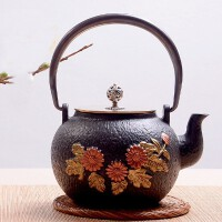铁壶仿日本南部铸铁壶向阳花生铁壶烧水壶茶具茶壶煮茶器烧水铁壶电陶炉套装日本老铁茶壶茶具