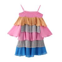 彩虹色 夏装吊带蛋糕中裙连衣裙女