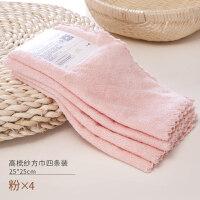 儿童毛巾两条装吸水小方巾四条宝宝口水巾洗脸毛巾比棉吸水Y