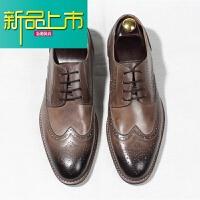 新品上市手工男士商务休闲皮鞋男鞋雕花复古真皮鞋英伦百搭尖头鞋子