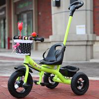 儿童三轮车脚踏车1-3-2-6岁大号手推车宝宝单车幼小孩玩具自行车YW136 绿色+ 推把 钛金轮