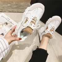 老爹鞋女鞋2019新款时尚牛皮厚底圆头系带女鞋英伦风气质休闲女鞋