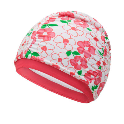 hosa浩沙儿童泳帽女童男童弹力护耳游泳帽子碎花小女孩新款游泳帽 布艺泳帽 俏皮小碎花