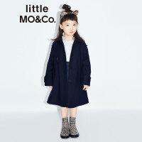 littlemoco秋季新品女童大衣中长款保暖羊毛呢大衣休闲女童外套