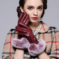 女士头层羊皮菱格皮手套 韩版獭兔毛皮手套加厚