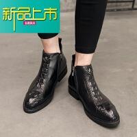新品上市秋冬季新款马丁靴男真皮纹高帮皮鞋英伦男士短靴男靴子