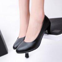 小黑皮鞋女低跟3cm浅口圆头百搭工作职业大码粗跟舒适单高跟鞋ol
