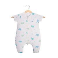 宝宝睡袋夏季薄款空调房夏天防踢被婴儿春秋背心式无袖纱布