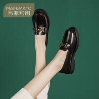 玛菲玛图小皮鞋女英伦秋季2020新款厚底单鞋平底鞋手工真皮复古舒适乐福鞋687-9W
