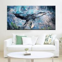 数字油画diy客厅大幅卧室手工绘动物填色油彩画装饰画挂画鲸鱼蓝 100*200cm 配组合内框自己安装