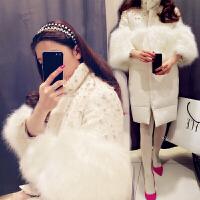 新年特惠轻薄羽绒服女2019冬季新款时尚白色狐狸毛鸭绒亮片外套中长款修身 白色 长袖