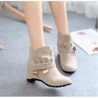 单靴子女短筒高跟坡跟2018新款百搭韩版冬秋女鞋学生内增高短靴