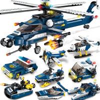 兼容乐高积木儿童拼装飞机玩具男孩子城市警车警察系列直升机 风暴武装直升机8合1(381片)