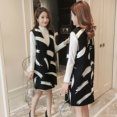 连衣裙针织打底衫两件套 孕妇冬装套装2018新款韩版时尚毛呢背心裙