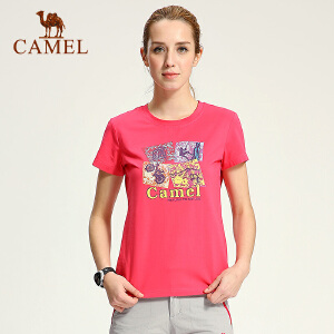 camel骆驼户外女款短袖T恤 春夏休闲圆领徒步透气T恤