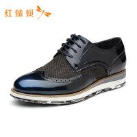 红蜻蜓男鞋新款系带牛皮舒适休闲男鞋WZA6671---