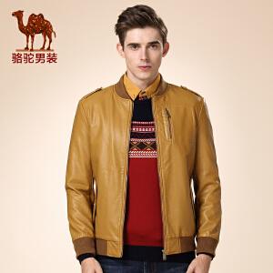 骆驼男装 冬款新款青年棒球领直筒PU仿皮休闲外套长袖皮衣男
