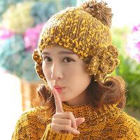 保暖 女护耳两朵花毛线 套头绒线帽 手工毛球女帽