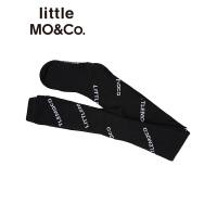littlemoco童装女儿童裤袜slogan提花连脚裤袜透气棉裤袜