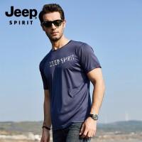 吉普 JEEP 男士T恤 春夏季新品韩版潮流休闲男士T恤圆领纯色修身短袖打底衫