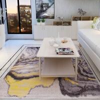 北欧式地毯客厅茶几毯卧室床边毯简约现代几何抽象家用房间长方形k 黄灰色 抽象一
