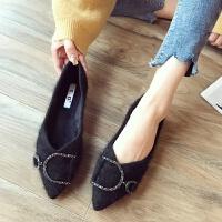 尖头平底鞋女单鞋秋冬新款网红毛毛鞋加绒貂毛棉瓢鞋女豆豆鞋