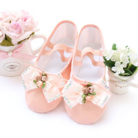 儿童舞蹈鞋帆布练功鞋体操鞋 蝴蝶结软底芭蕾舞鞋