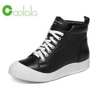 红蜻蜓旗下品牌COOLALA新款潮流街拍高帮板鞋休闲贝壳头小白鞋
