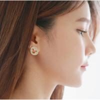 韩版满钻镂空米奇头耳钉女士耳饰品无耳洞耳环夹