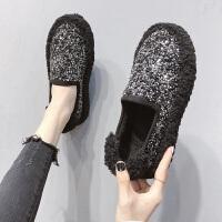 羊羔毛毛鞋女2018冬韩版百搭厚底面包鞋懒人一脚蹬懒人鞋加绒