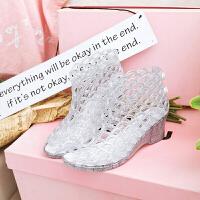 坡跟凉鞋女夏新款洞洞鞋女鱼嘴高跟塑料水晶果冻凉鞋沙滩女鞋