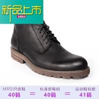 新品上市加绒马丁靴男潮高帮鞋真皮短靴男士保暖靴子中帮复古英伦工装冬季
