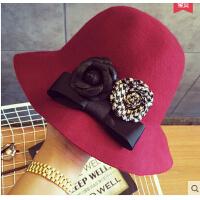 时尚休闲羊毛帽子女礼帽毛呢盆帽圆顶大檐帽优雅花朵复古渔夫帽潮