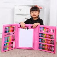 儿童画笔绘画套装文具水彩笔蜡笔小学生画画工具女孩生日礼物 粉红色176PC双画架