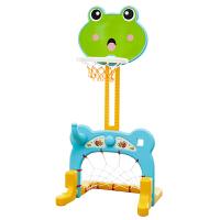 小孩子健身玩具新款韩版室内儿童篮球架宝宝可升降投篮筐篮球框 踢足球 小朋友幼儿玩具送生日礼物 青蛙篮球架 绿色
