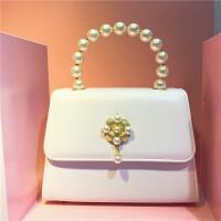 新款珍珠宴会手提包珍珠花朵单肩斜跨女包软妹古董晚宴包伴娘