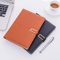 磁扣皮面日记本子B5记事本商务a5复古创意笔记本会议办公文具定制
