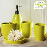 �W式�l浴五件套陶瓷��意��s新婚�Y物浴室用品牙杯漱口杯洗漱套�b