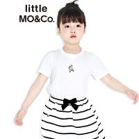 littlemoco百搭纯色趣味卡通刺绣短袖纯棉T恤KA172TEE201 moco