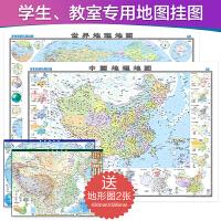 中国地图 世界地图(大一全 1.2m*0.9m 学生教师专用套装2册 地理地图 覆膜 筒装)