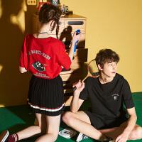 【99元5件】唐狮情侣装新款夏装短袖T恤男韩版宽松衣服学生ins卡通女