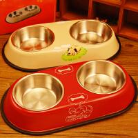 不锈钢双碗 猫碗狗碗宠物食盆水盆 防滑底卡通图案狗食盆 180301007