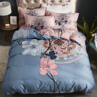 四件套全棉纯棉床单被套双人简约婚庆1.8m床ins风网红床上四件套