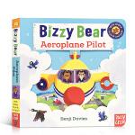 英文原版 Bizzy Bear系列 Aeroplane Pilot 飞行员 推拉纸板书儿童早教启蒙英语图画故事书 1-
