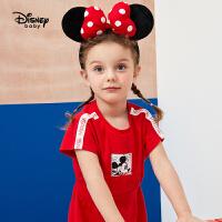 【2件3折价:59.1】迪士尼童装女童儿童宝宝时尚运动连衣裙宝宝短袖裙子2020夏装新款