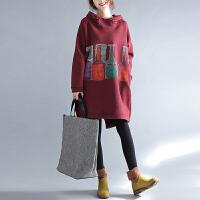 厚加绒外套 韩版秋冬装中长款带帽卫衣大码孕妇装宽松显瘦上衣服