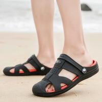 夏季新款男拖鞋轻便果冻洞洞鞋舒适凉拖鞋室外透气潮拖鞋