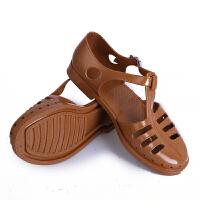夏季男士凉鞋男洞洞鞋镂空塑料沙滩鞋老式怀旧复古塑包头胶鞋 巧克力